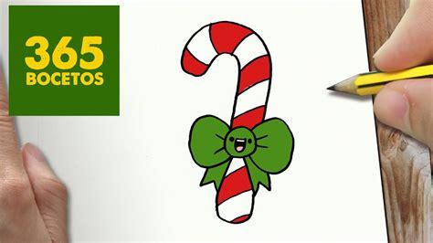 como dibujar  baston  navidad paso  paso dibujos kawaii navidenos   draw  candy