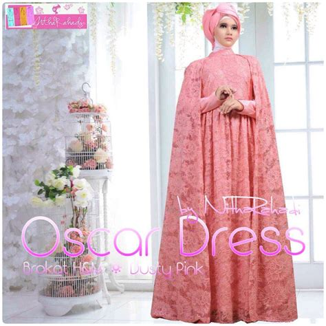 dress brokat bordir mewah dress brokat kombinasi satin baju gamis pesta terkini