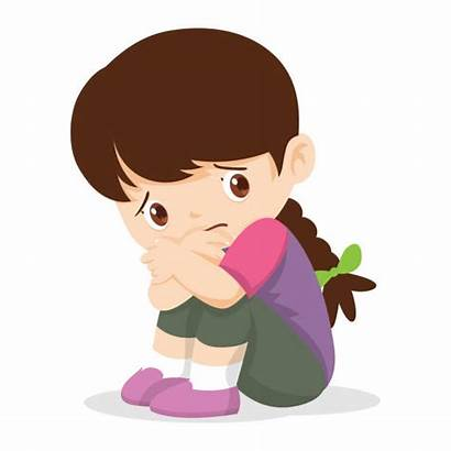 Sad Child Cartoon Alone Sitting Lonely Vector