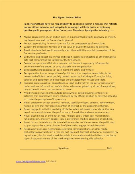 National Firefighter Code of Ethics Set for Release ...