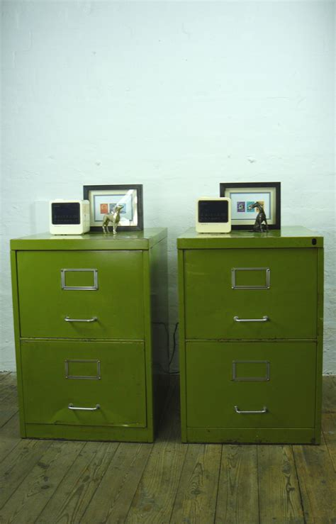 pair  matching vintage pea green  drawer filing cabinets