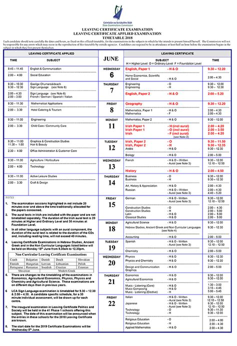 leaving certificate examination timetable schooldaysie