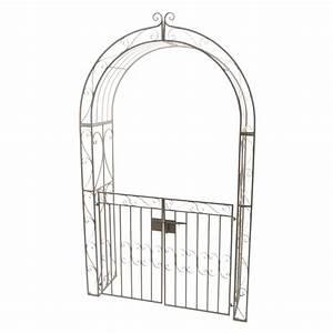 Arche De Jardin En Fer Forgé : arche de jardin lina style fer forg brun blanchi meuble ~ Premium-room.com Idées de Décoration