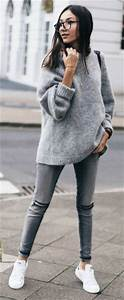 Long Baggy and Cascade Sweaters with Skinny Jeans u2013 Designers Outfits Collection