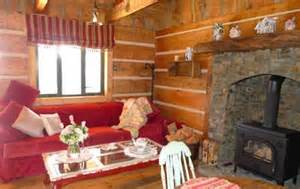 Log Cabin Fireplace with Wood Stove
