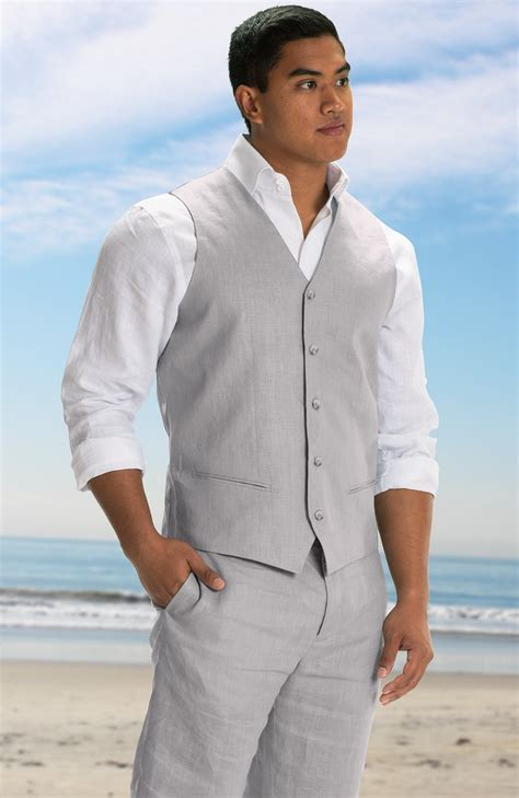 Beach Wedding Attire For Groom Linen Shirts Pants Vests