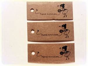 25 kraft card labels tags printed with girl pattern hand for Hand knit labels