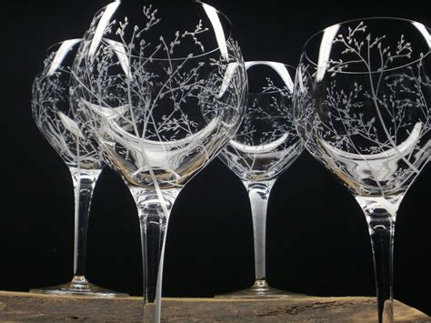 4 Red Wine Glasses Hand Engraved Crystal Glass 'branches