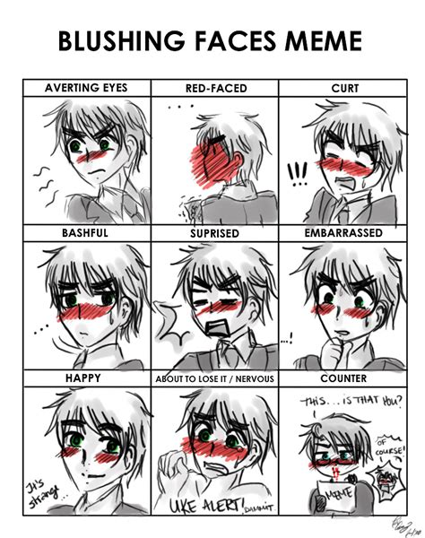 Blushing Memes - blushing faces meme by thegweny on deviantart