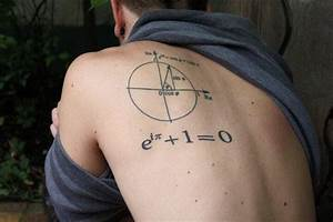 Black Math Formula With Diagram Tattoo On Man Left Back