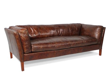 sofa braun vintage deco weiches sofa aus braunem patina leder dreisitzer