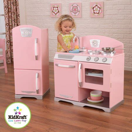 walmart play kitchen kidkraft pink retro wooden play kitchen and refrigerator