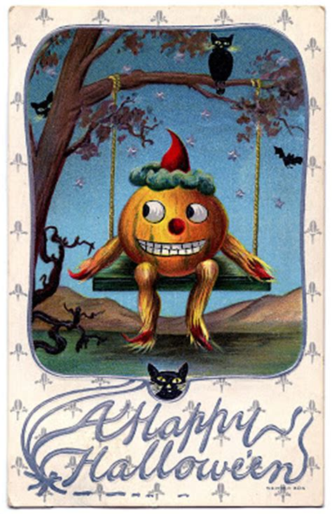 vintage halloween graphic pumpkin man  swing