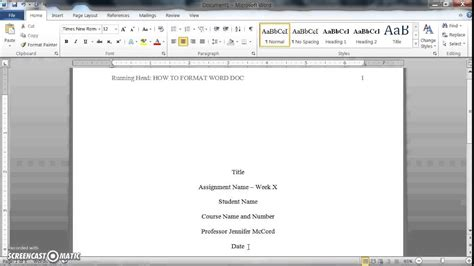 how to format a word doc for writing an apa style college