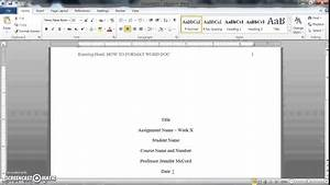 Formal Report Title Page How To Format A Word Doc For Writing An Apa Style College