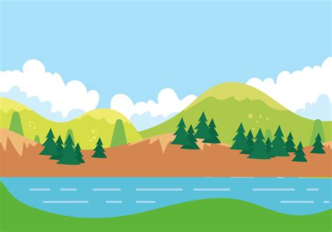 cartoon flat sunny mountain landscape background material