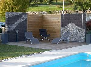 coin intime avec gabion brise vue et terrasse en bois sur With amenagement autour de la piscine 12 paysage decors creations paysage decors