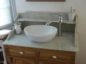 meuble salle de bain en marbre de carrare inspiration With meuble salle de bain marbre