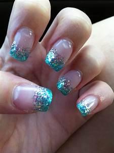 faded blue glitter tips nails glitter fade nails faded