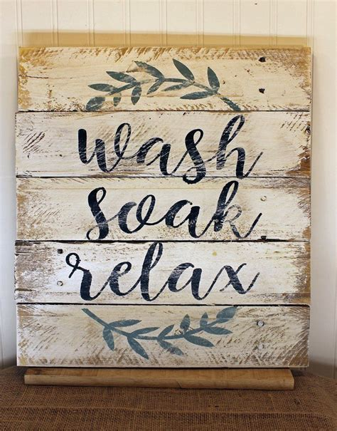 white bathroom relax unwind quote reclaimed wood pallet
