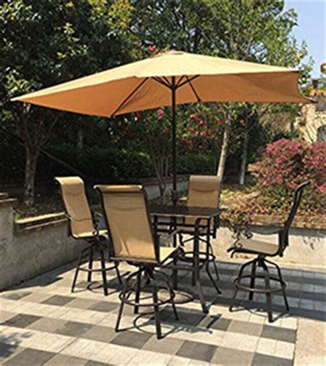 High Top Patio Table With Umbrella by Discover The Best Outdoor Bar Height Table And Chairs Sets
