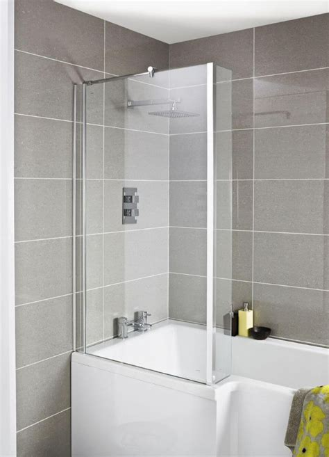 Bath With Shower by Premier Quattro Hinged Square Bath Shower Screen