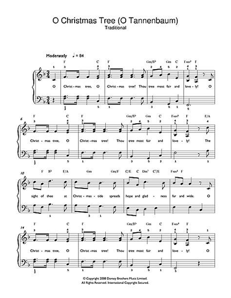 o christmas tree sheet music by christmas carol beginner