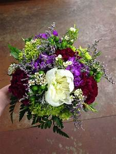 Bouquet, green, purple, plum, white, hydrangea, stock ...