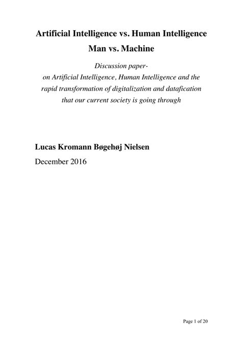 (PDF) Artificial Intelligence vs. Human Intelligence (Man