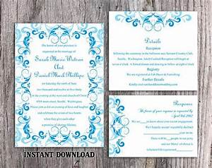 Diy wedding invitation template set editable word file for Wedding invitation template aqua blue