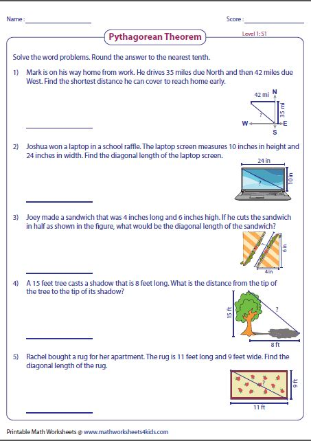 word problems involving pythagorean theorem geometry