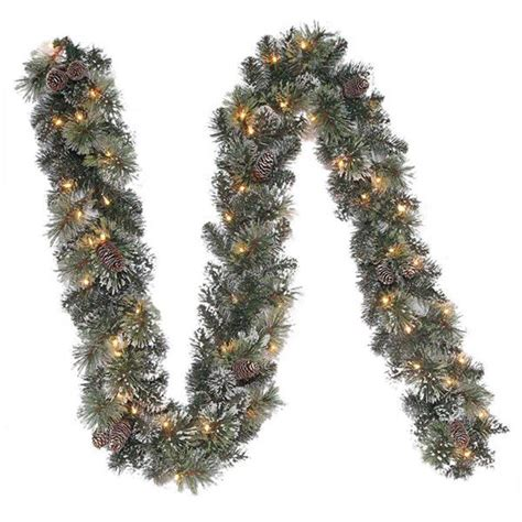 9 ft pre lit sparkling pine garland with clear lights