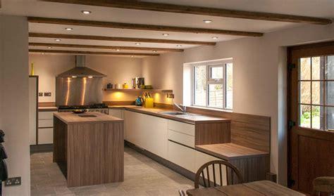 handleless white satin lacquer  stone oak worktops  brighton