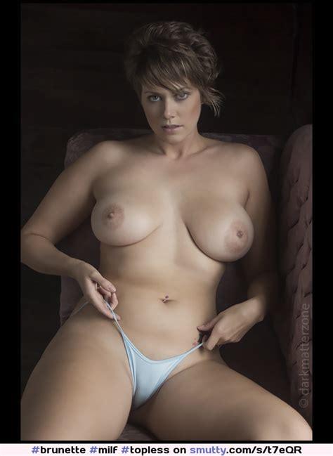 Brunette Milf Topless Thong Bignaturaltits