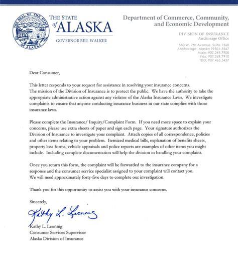 alaska insurance commissioner complaint