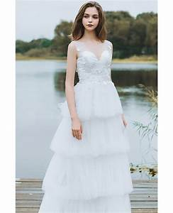 unique tiered tulle low back boho wedding dress beach With unique beach wedding dresses