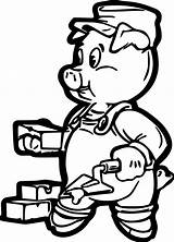 Brick Pig Coloring Pigs Pages Sheets Wecoloringpage Face Cartoon sketch template