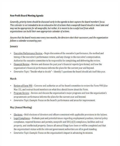 nonprofit agenda templates   word  format