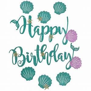 Mermaid Glittery Happy Birthday Script Font with Shells