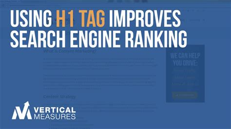 Search Engine Ranking - using h1 tag improves search engine ranking