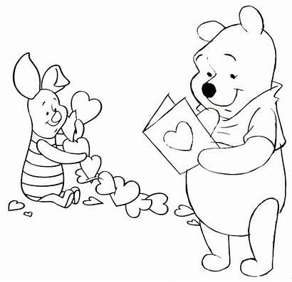 Valentines Coloring Valentine Pooh Winnie Printable Disney
