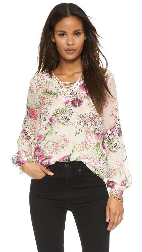 haute hippie blouse haute hippie lace up front blouse flower in pink
