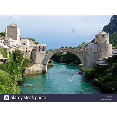 View of the Old turkish bridge (stari most) Mostar