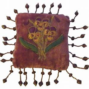 Antique Velvet Pin Cushion with Embroidered Flowers ...