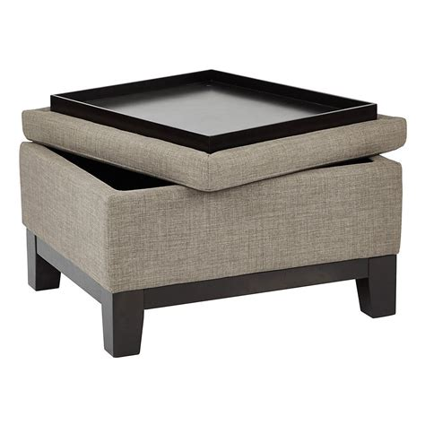Reversible Ottoman With Tray - ave six regent upholstered storage ottoman with reversible