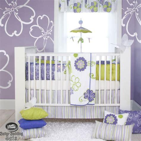 baby girl lavender purple green quilt crib nursery newborn