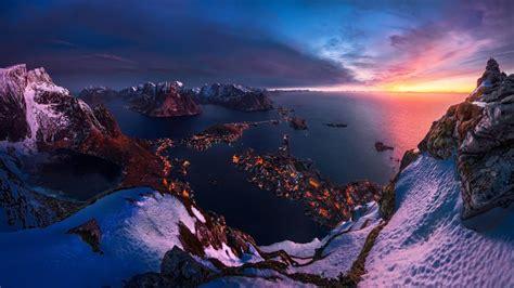 Lofoten Norway Sunset Twilight Over The Horizon Winter