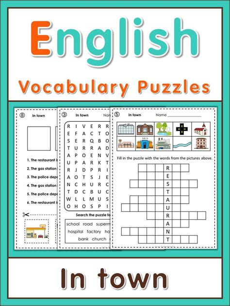 Esl Vocabulary Puzzles Places In Town  Word Search Puzzles, Logic Puzzles And Word Search