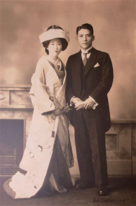 large vintage  japanese original wedding couple photo