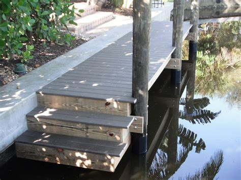 small boat dock  trex composite decking  stainless steel hardware  step  area